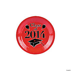 """Class of 2014"" Graduation Red Dessert Plates"