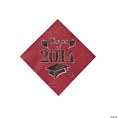 """Class of 2014"" Graduation Burgundy Beverage Napkins"