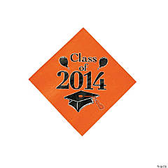 """Class Of 2014"" Graduation Orange Beverage Napkins"