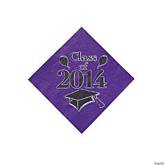 """Class of 2014"" Graduation Purple Beverage Napkins"