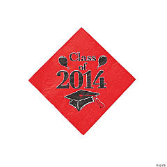 """Class of 2014"" Graduation Red Beverage Napkins"