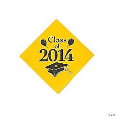 """Class of 2014"" Graduation Yellow Beverage Napkins"