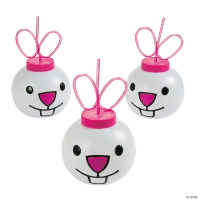 Easter Bunny Molded Cups with Lids & Straws