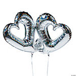 Two Hearts Interlocking Mylar Balloons