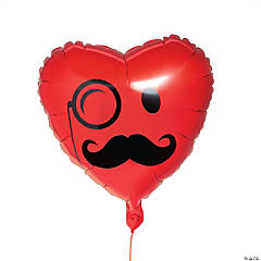 Mustache Smile Face Heart Mylar Balloon