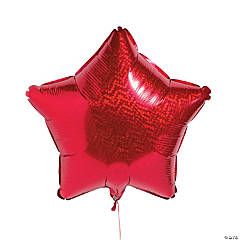 Prismatic Red Star Mylar Balloon