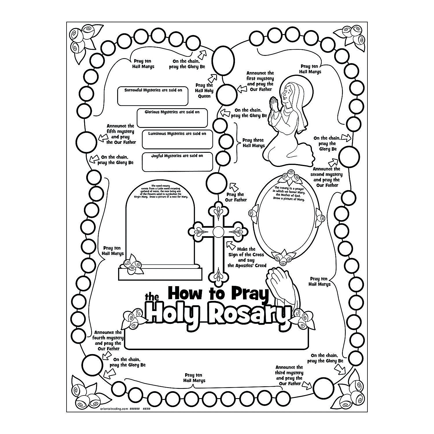 "Color Your Own ""All About the Rosary"" Posters, Coloring"