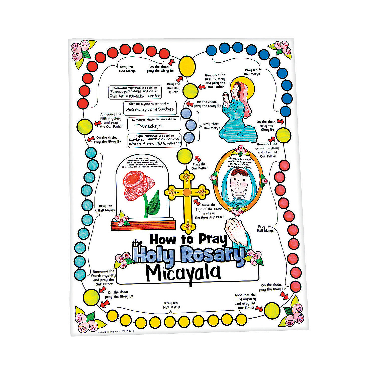 color your own all about the rosary posters coloring. Black Bedroom Furniture Sets. Home Design Ideas