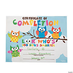 Paper 100th Day Owl Certificates