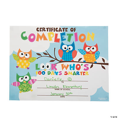 100th Day Owl Certificates