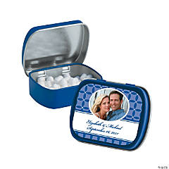 Blue Wedding Design Custom Photo Mint Tins