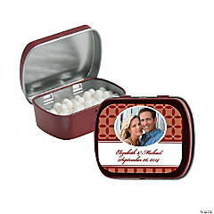 Burgundy Wedding Design Custom Photo Mint Tins