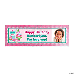 Birthday Bakery Party Small Custom Photo Banner