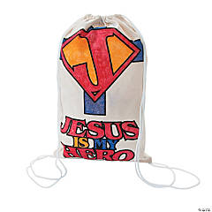"Color Your Own ""Jesus Is My Superhero"" Canvas Drawstring Backpacks"