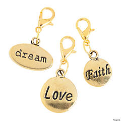 Goldtone Word Charms