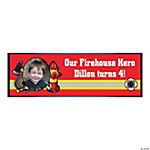 Custom Photo Small Firefighter Party Vinyl Banner
