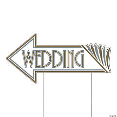 Art Deco Wedding Directional Yard Sign
