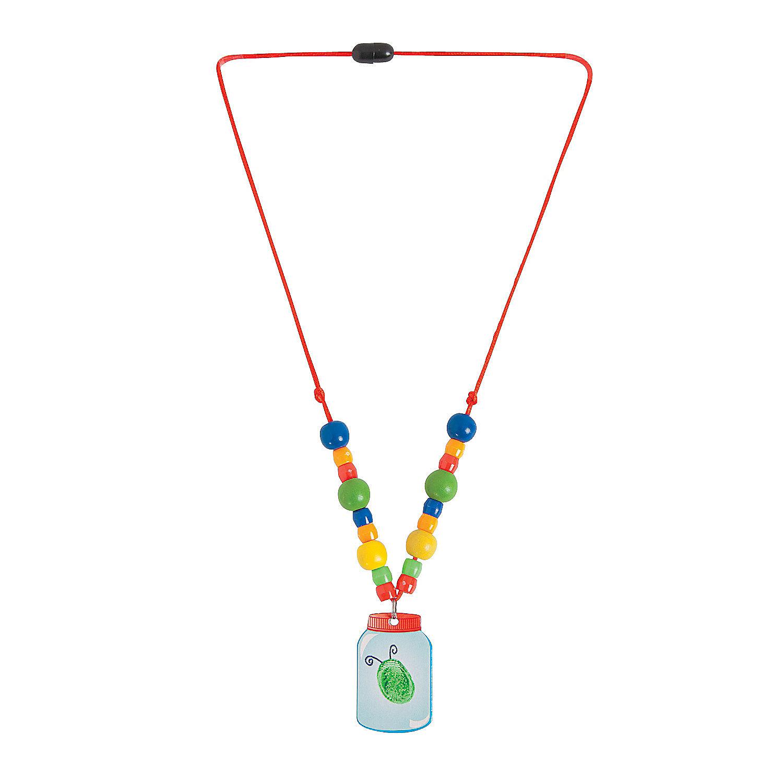 Bug in a jar thumbprint necklace craft kit jewelry crafts for Necklace crafts for kids