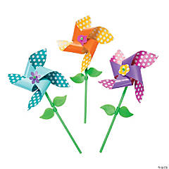 Colorful Spring Flowers Pinwheel Craft Kit
