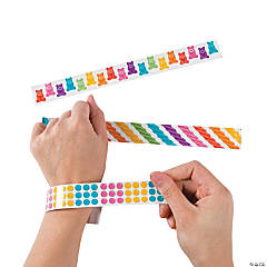 Metal Candy Stripe Slap Bracelets
