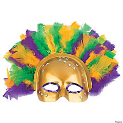 Mardi Gras Half Mask with Feathers