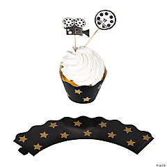Paper Movie Night Cupcake Wrappers with Picks