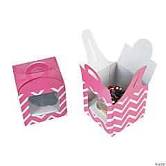 Candy Pink Chevron Cupcake Boxes with Handle