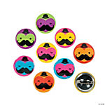 Mustache & Heart Mini Buttons
