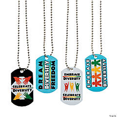 Celebrate Diversity Dog Tag Necklaces