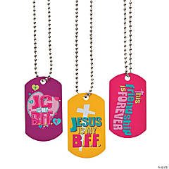 """Jesus Is My BFF"" Dog Tag Necklaces"