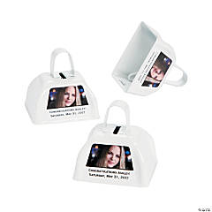 White Graduation Custom Photo Cowbells