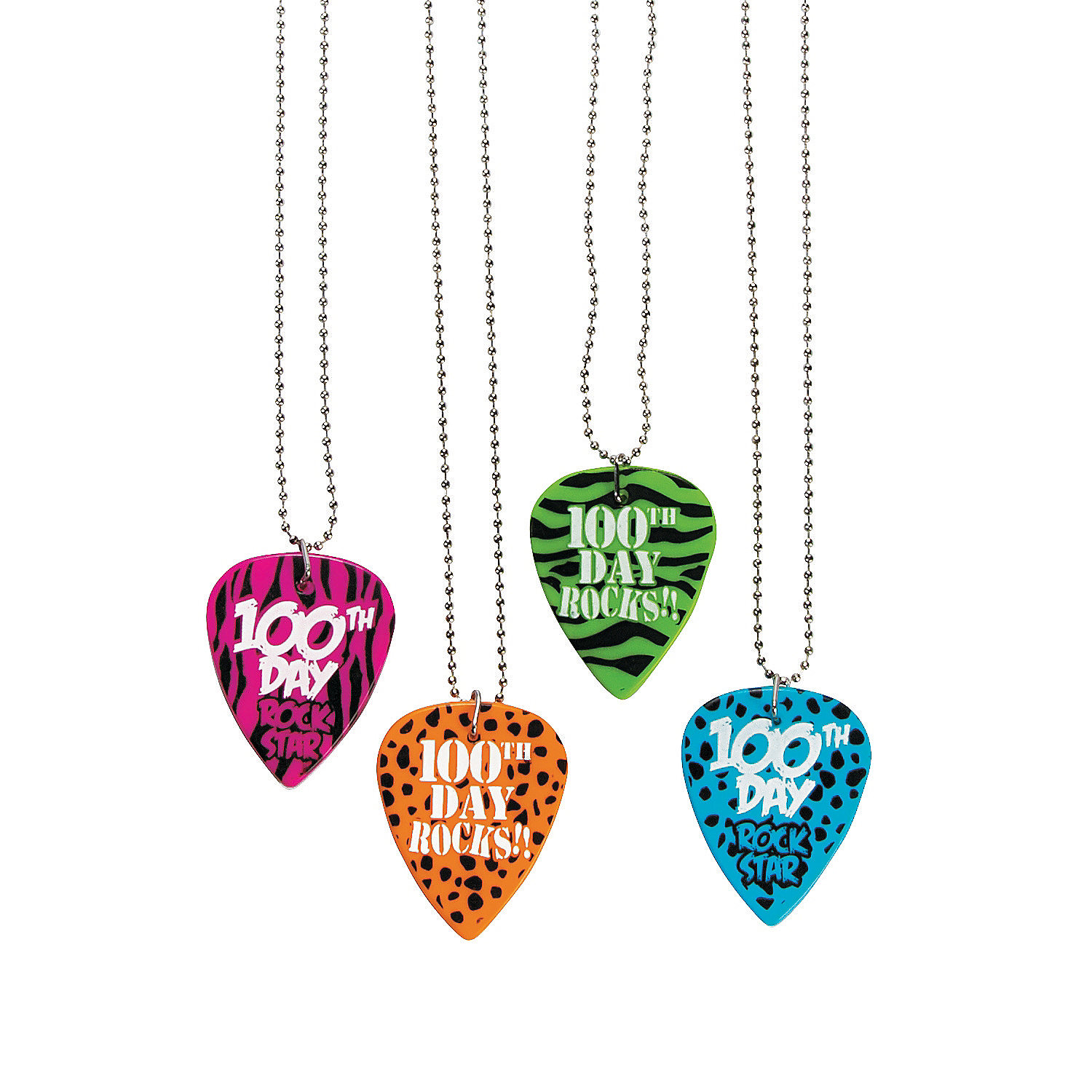 100th Day of School Guitar Pick Necklaces, Necklaces ...