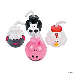 Farm Animal Molded Cups with Lids & Straws