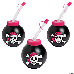 Pink Pirate Molded Cups with Lids & Straws