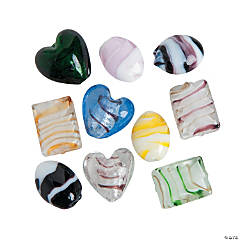 Heart & Round Lampwork Bead Mix - 15mm-20mm