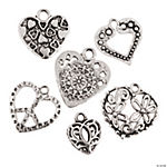Silvertone Heart Charms