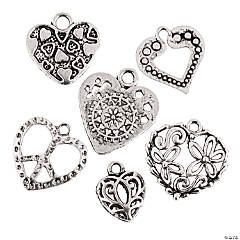 Metal Silvertone Heart Charms