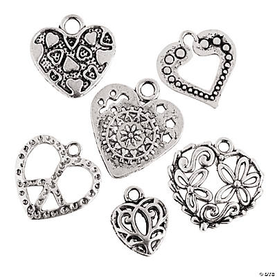 Silvertone Heart Charm Assortment