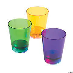 Plastic Mardi Gras Light-Up Shot Glasses