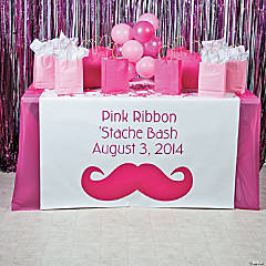 Personalized Pink Mustache Table Runner