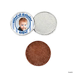 """1st Birthday"" Blue Custom Photo Chocolate Coins"