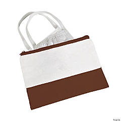 Chocolate Brown & White Makeup Bag