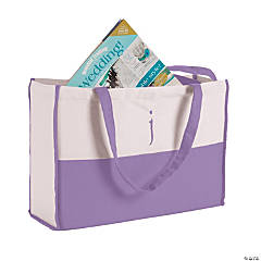 Monogrammed Purple Canvas Tote