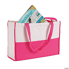 Monogrammed Pink Canvas Tote