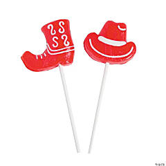 Red Cowboy Hats & Boots Frosted Lollipops
