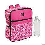 Personalized Pink Damask Quilted Backpack