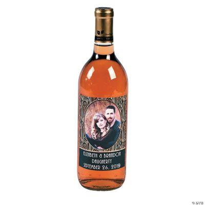 Art Deco Custom Photo Wine Bottle Labels