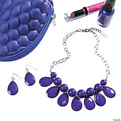 Purple Necklace and Earrings Set