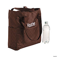 Personalized Quilted Brown Totes