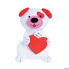 Plush Valentine Dog with Heart Pouch